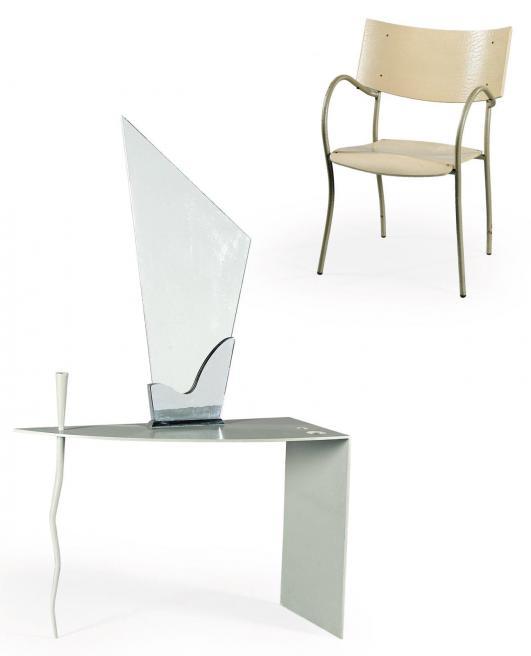 PHILIPPE STARCK (NÉ EN 1949) Commande spéciale Ensemble composé d'une coiffeuse et de son fauteuil bridge Acier… 1,800 - 2,500 €
