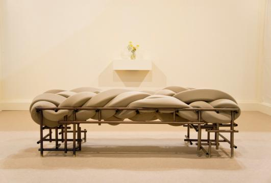 Evan Fay Lawless Bench,2016. Steel, brass, foam, scuba knit. Photo by Charlie Schunck.