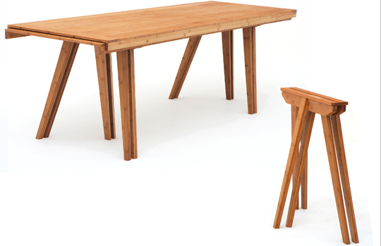 'stacking' trestle dining table by Jair Straschnow - Grassroots at the Aram Gallery 2009
