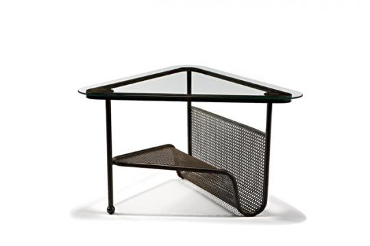 Mathieu Matégot, Triangular coffee table with top (1956), estimated at $2,000 - 3,000, sold for $6,250