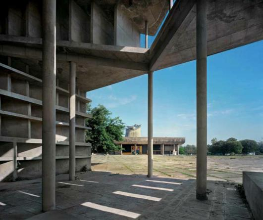 Capitol Complex, Chandigarh. 1951–65. Tower of Shadows and Assembly
