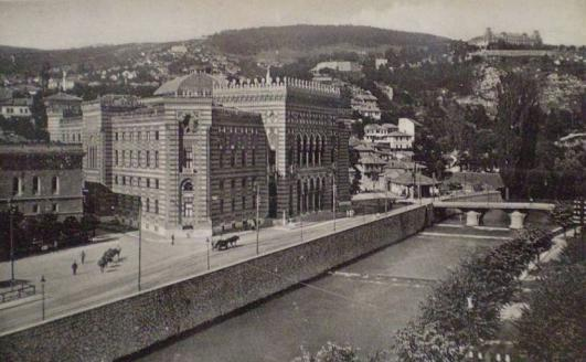 The Jajce Barracks on the hill behind Sarajevo's National Library