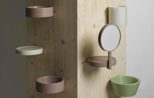 """Balcon"" shelf, vase, mirror, bowl and tray by  Inga Sempé"