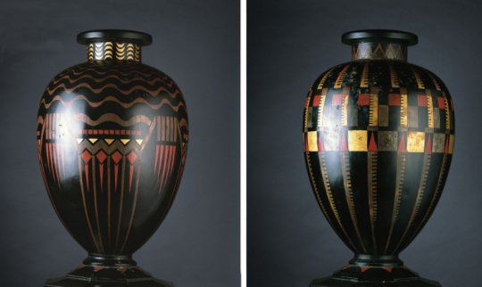 Jean Dunand: pair of lacquered and gilt metal vases, 1925. Collection Yves Saint Laurent and Pierre Bergé