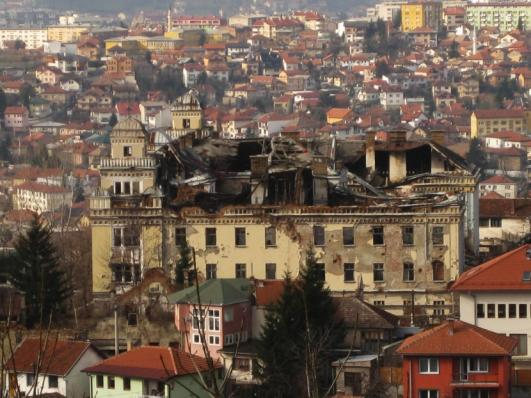 The Jajce Barracks with Sarajevo in the background