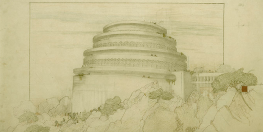 Gordon Strong Automobile Objective and Planetarium (unbuilt) by Frank Lloyd Wright, 1924 – ©2009 The Frank Lloyd Wright Foundation