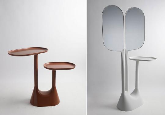 "left:  ""Baobab"" table right: ""Baobab"" console both by Lonna Vautrin"