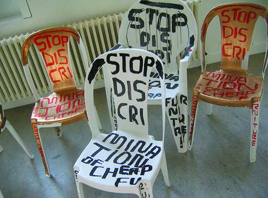 'Statement Chair' by Marti Guixe, 2004.  Limited edition of ten signed chairs, as part of the stop discrimination of cheap furniture series.