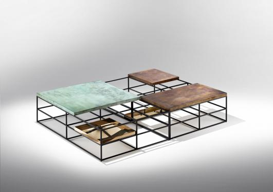 CAGES - coffee table - Nucleo_Piergiorgio Robino + Gabriele Bagnoli - polished and patinated bronze, iron -  2013