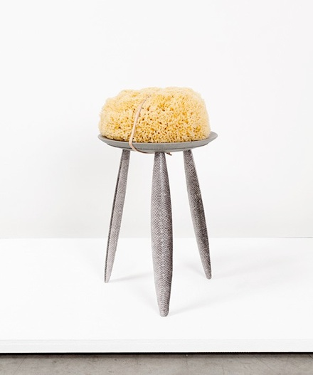 Salmon stool: Fendi discarded leather, vegetal tanned salmon skin, wood, sea sponge