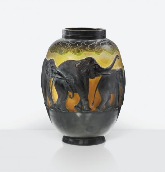 VASE AUX ÉLÉPHANTS', A MOULD BLOWN AND ACID-ETCHED GLASS VASE, CIRCA 1925. SIGNED Estimate   30,000 — 40,000  EUR