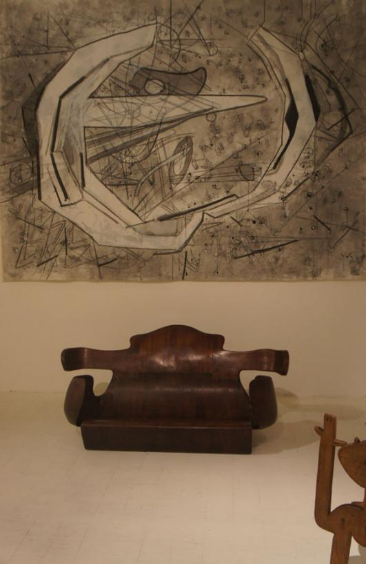 L'ARTE DI NOE' wooden armchair sofa, CERES CERESA ERES LA TIERRA oil on canvas