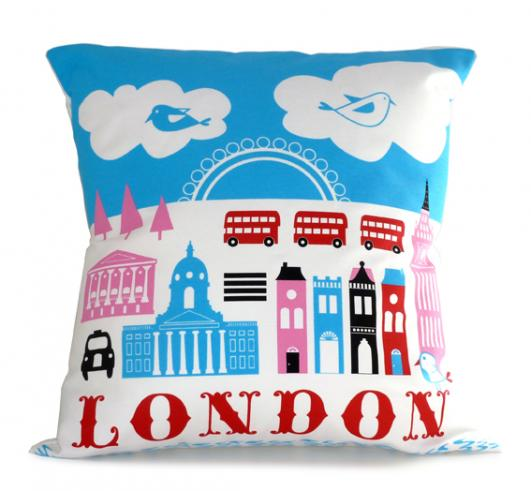 Michelle Mason - London cushion - http://www.michellemason.co.uk/