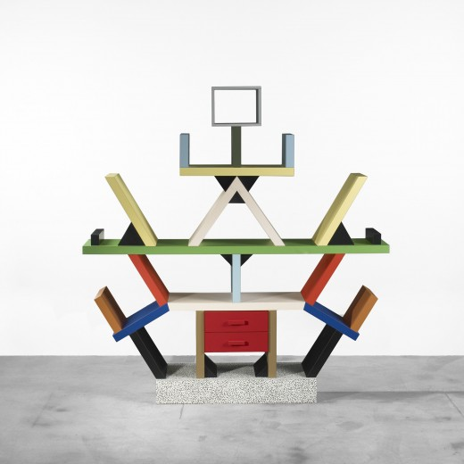 Ettore Sottsass,Carlton bookcase, Memphis, 1981, estimated at $7,000–9,000, sold for  $18,750