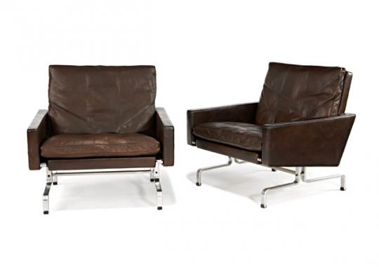 Poul Kjaerholm, Ph-31 lounge chairs (1958) estimated at $5,000 - 7,000, sold for $10,625